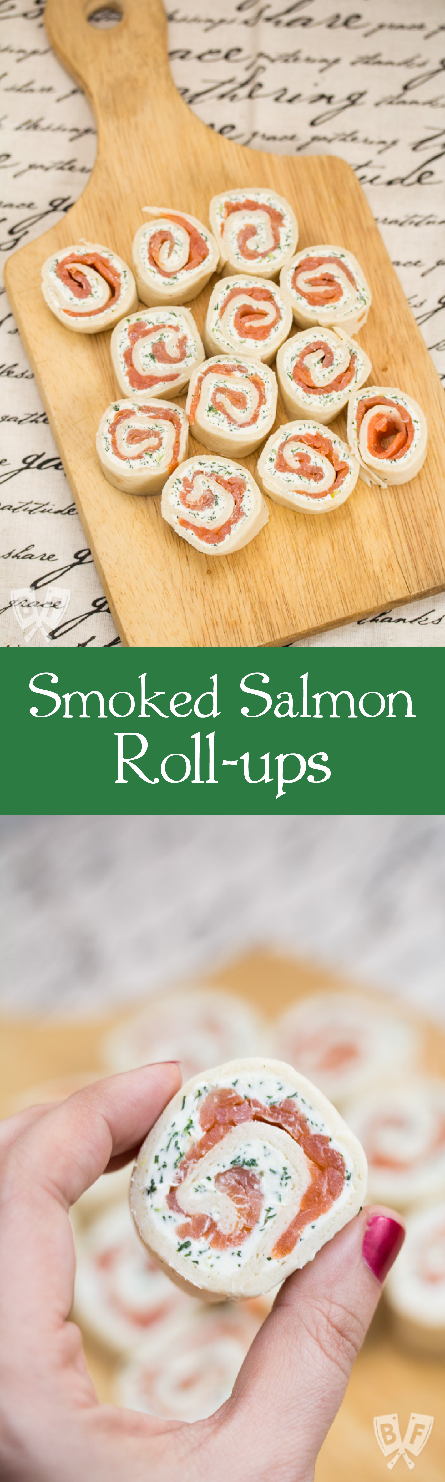 Smoked Salmon Roll-ups: This 5 ingredient party food recipe is simple and delicious - perfect for game day!
