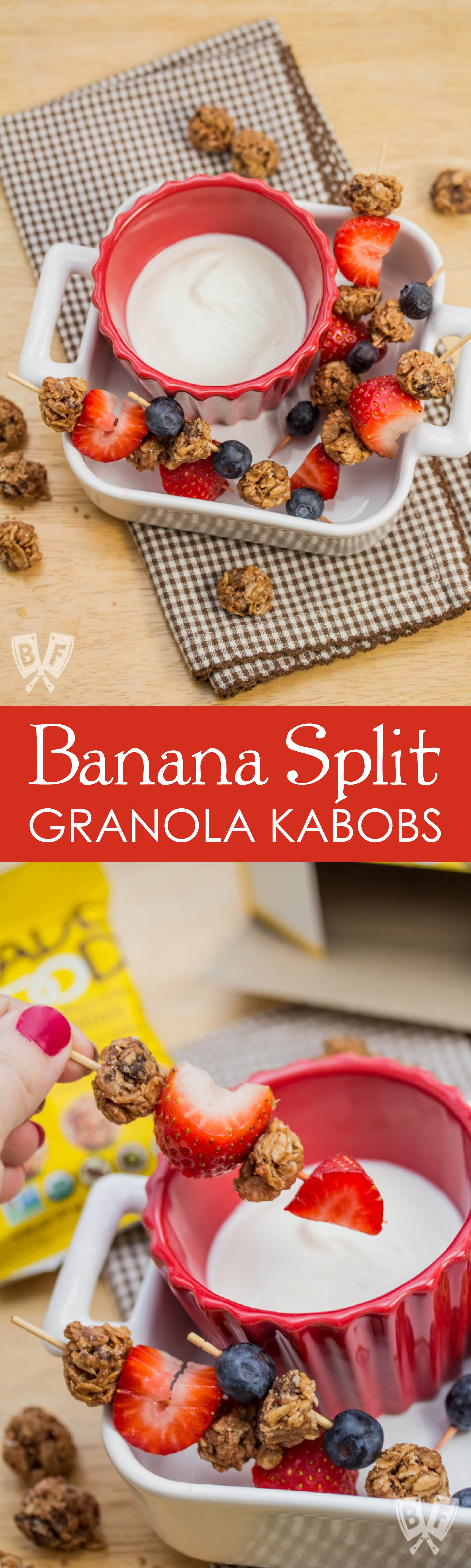 Banana Split Granola Kabobs: This 3 ingredient snack packs all the flavor of a dessert classic into a healthy, bite-sized skewer! A fun, allergy-friendly lunchbox treat. #ad