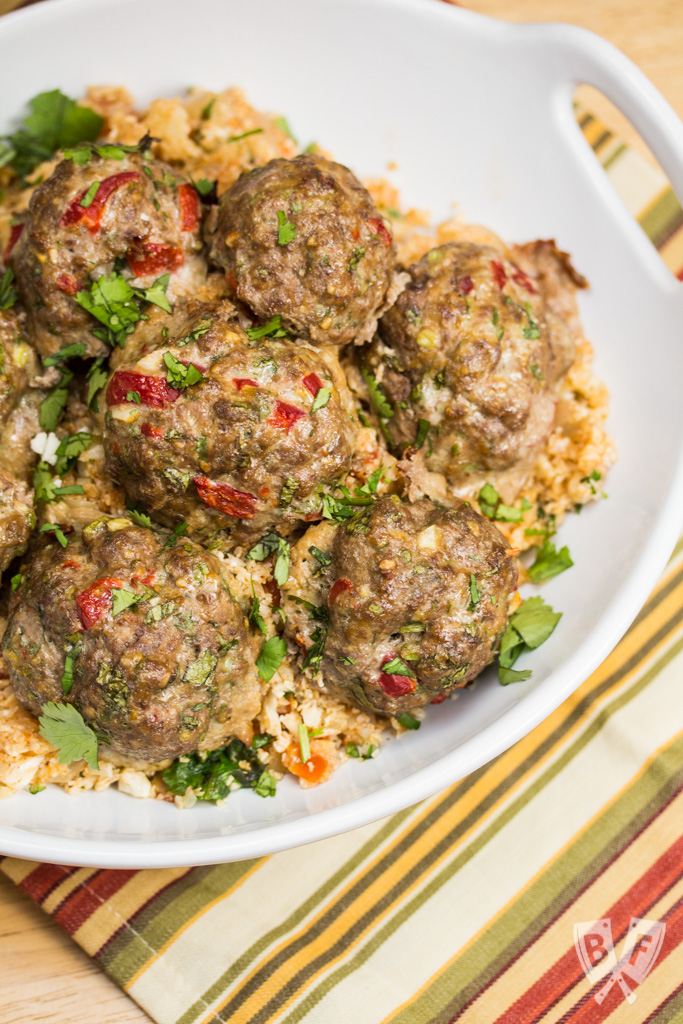 Tex-Mex Meatballs with Mexican Cauliflower Rice: This paleo, gluten free Tex-Mex meal is simple enough for a weeknight and impressive enough for company. Super flavorful clean eating at its best!