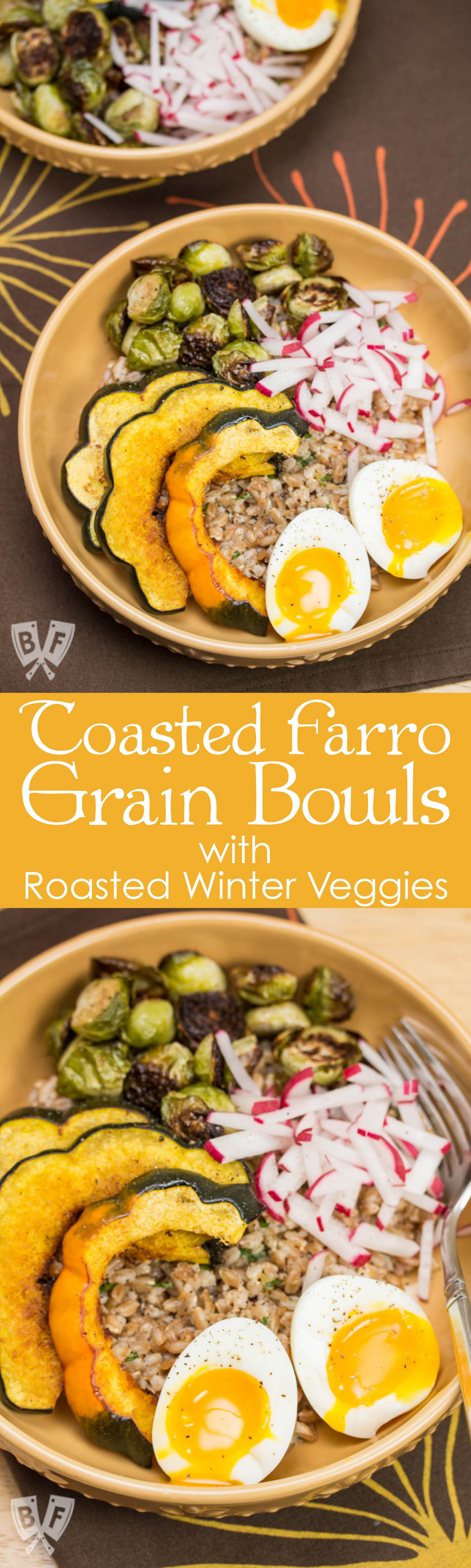 Toasted Farro Grain Bowls with Roasted Winter Veggies: Chase away the winter blues with this hearty, veggie-packed grain bowl. Top it with a runny egg for the ultimate comfort food upgrade! #VillageHarvestVariety #ad