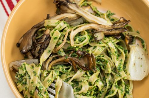 Farmer Fettuccine with Kale Pesto + Roasted Maitake Mushrooms: Celebrate spring's bounty with this gorgeously green bowl of farm fresh, vegan comfort food! #BigFlavorsFromTheFarm