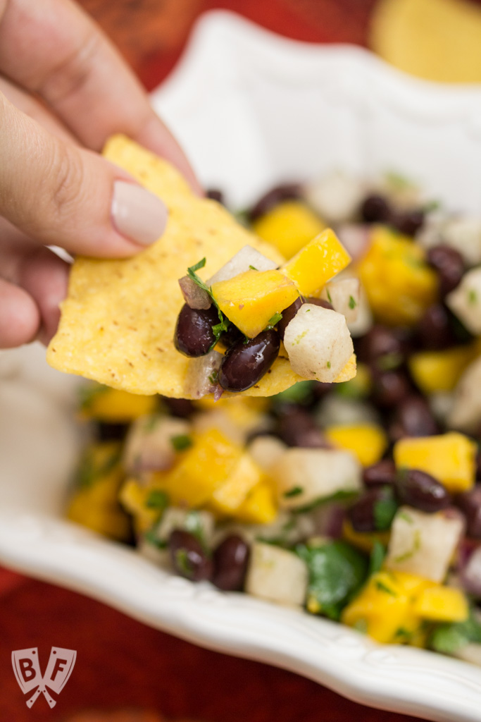 Juicy, ripe mango and fresh lime brighten the flavors of this sweet-and-salty black bean salsa. Perfect for Cinco de Mayo, potlucks and summer BBQs!