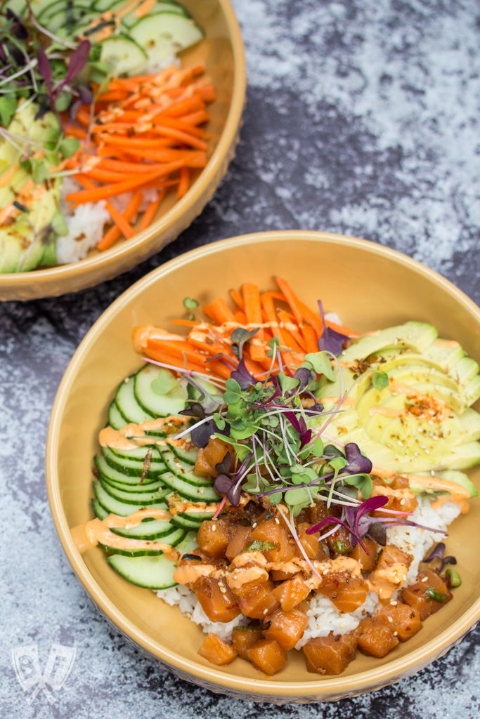 Spicy Salmon Poke Bowl: Satisfy your sushi cravings at home without all the fuss of wrapping and rolling with this simple spicy salmon poke bowl recipe.