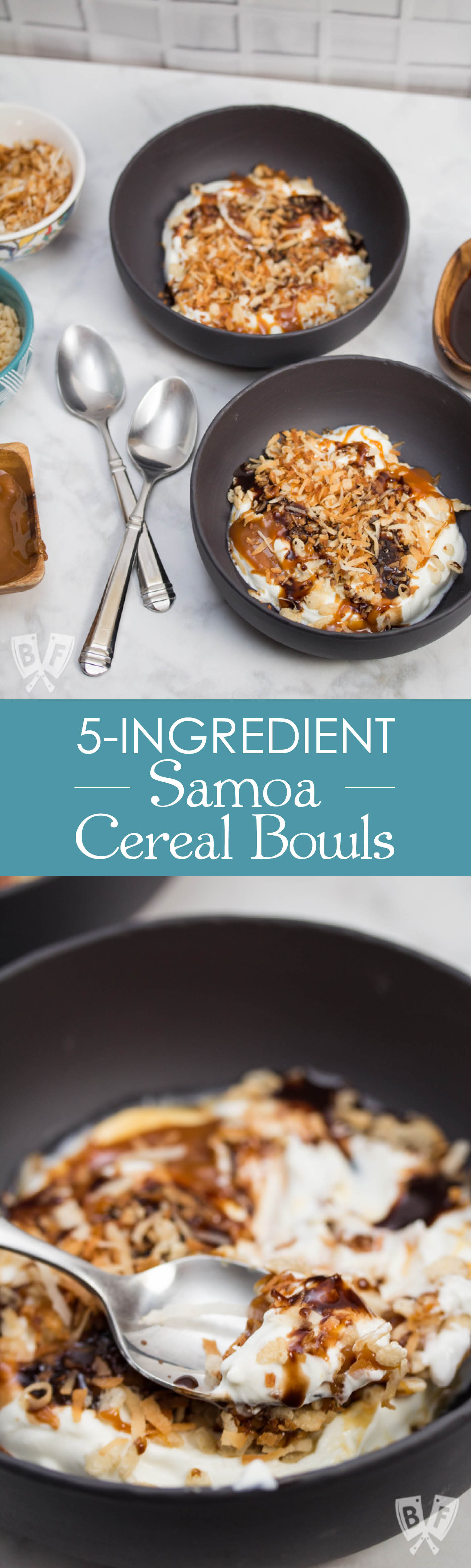 5-Ingredient Samoa Cereal Bowls: This quick & easy 5-ingredient Greek yogurt cereal bowl features toasted coconut + Rice Krispies - an ode to my favorite Girl Scout cookie, the Samoa! #ReimagineYourCereal #CollectiveBias #ad