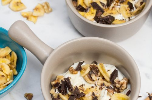 Chunky Monkey Greek Yogurt Parfaits: Chunks of premium dark chocolate, banana chips, toasted walnuts + a drizzle of honey bring these dessert-inspired breakfast parfaits to the next level! #StonyfieldBlogger #TheWholeYou #ad