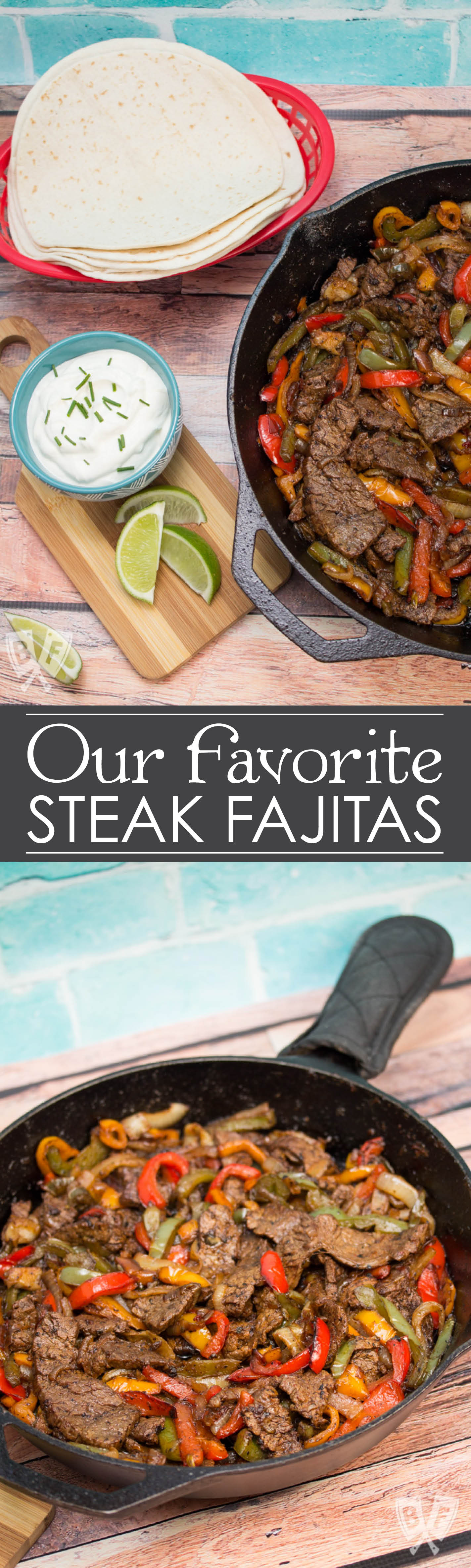 Our Favorite Steak Fajitas: Our Favorite Steak Fajitas: These tender steak fajitas are one of my family's very favorite meals - a perfect Tex-Mex dinner made in a single cast iron skillet.