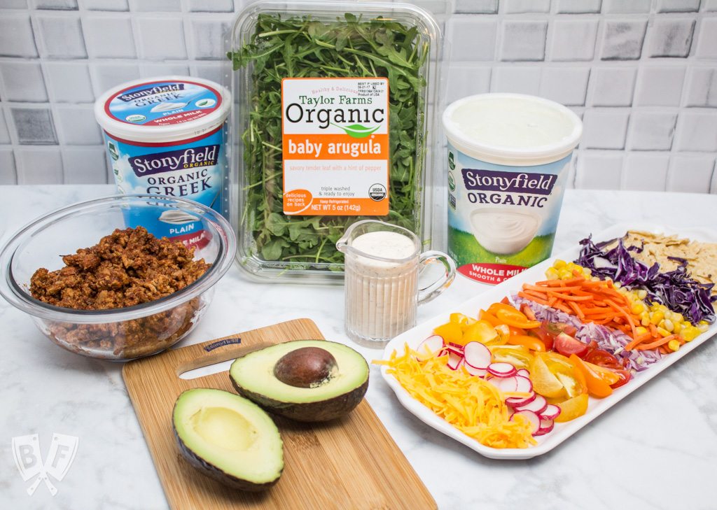 Taco Salad with Homemade Chipotle Ranch Dressing (#ad) is a healthier spin on Taco Tuesday that still packs lots of Mexican flavor. The homemade taco seasoning and chipotle ranch come together in a snap! #StonyfieldBlogger
