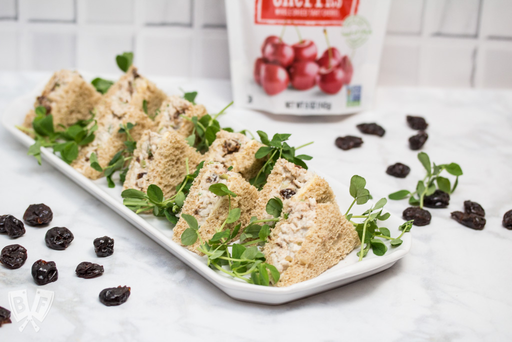 Turkey Salad Tea Sandwiches with Dried Cherries: Dried sour cherries add a pop of sweet-tart flavor to the turkey filling in this simple yet elegant tea sandwich recipe. Perfect party food! #ad