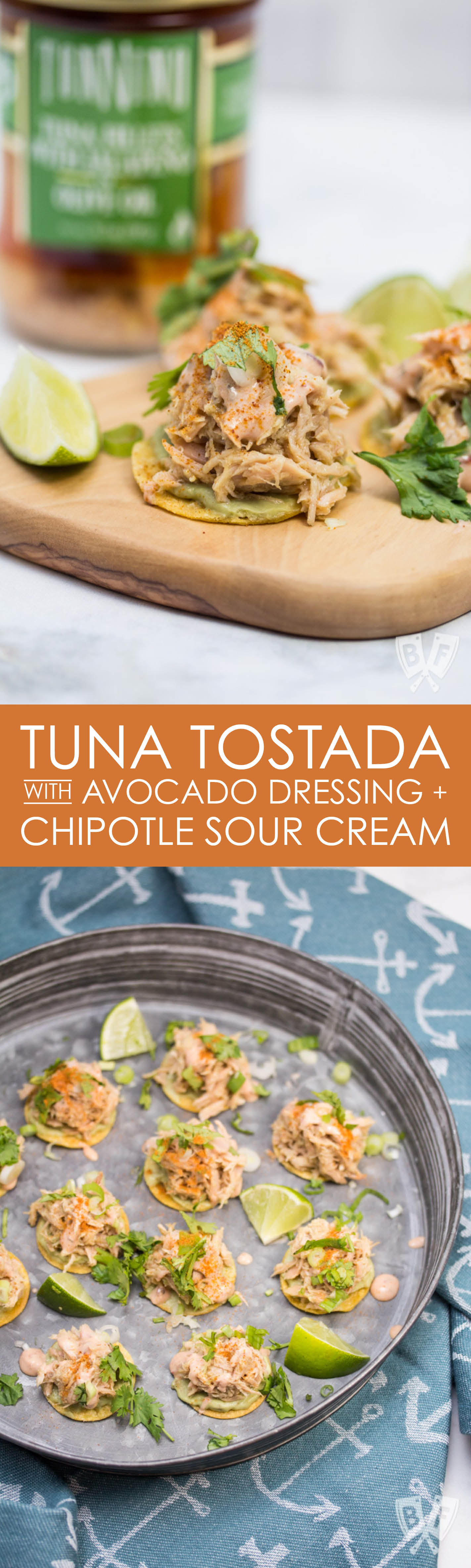 Tuna Tostada with Avocado Dressing + Chipotle Sour Cream (#ad): These bite-sized beauties have a Mexican flair that will wow your dinner party guests. You'll love how easy this tuna tostada appetizer is to put together!
