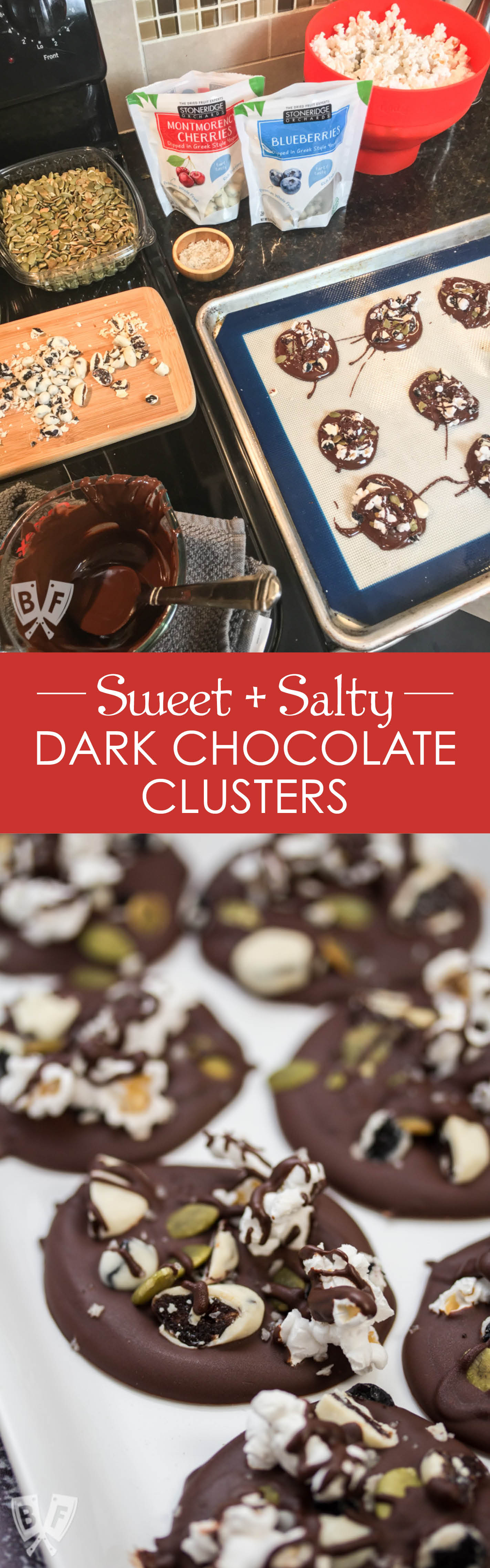 Sweet + Salty Dark Chocolate Clusters: #ad Satisfy your sweet tooth with this 5 ingredient dark chocolate dessert. These Sweet + Salty Dark Chocolate Clusters are easy to make, no bake, & perfect for times when you're craving both sweet AND salty!