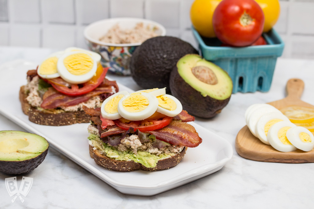 TABLET Sandwich: A classic BLT, tuna salad, and avocado toast join forces in this epic sandwich mashup! An easy, delicious lunchtime classic that's sure to be a hit! #BaconMonth