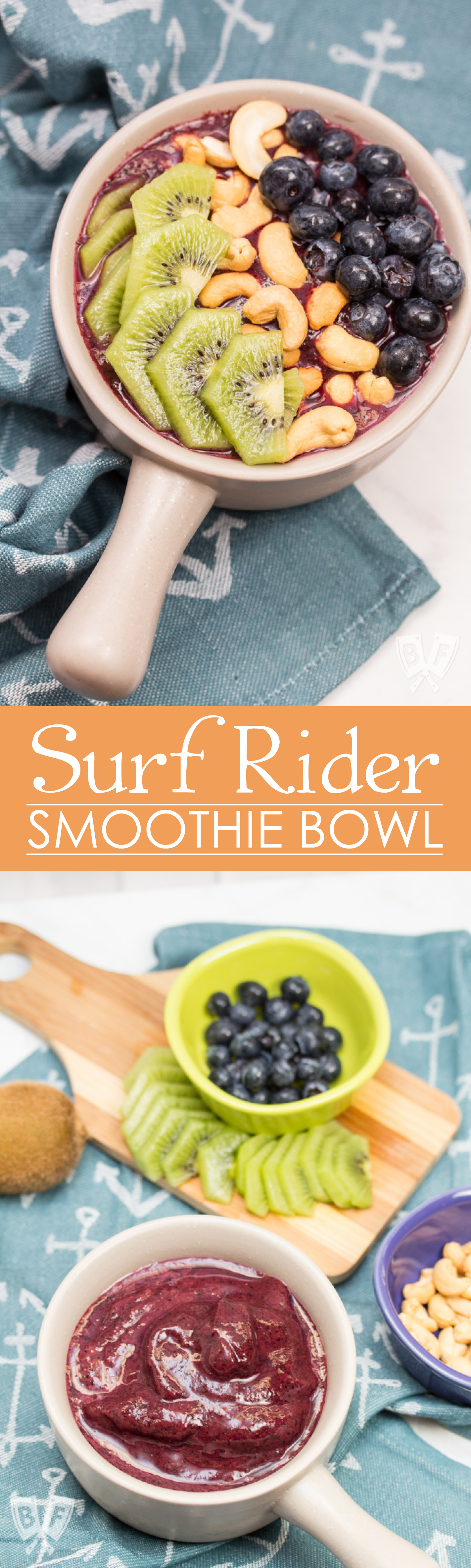 Surf Rider Smoothie Bowl: Green tea, raw cashews, kiwis and blueberries team up in this simple, delicious smoothie bowl. A vegan treat to start (or end!) any day of the week. Plus a review of Beautiful Smoothie Bowls by Carissa Bonham.
