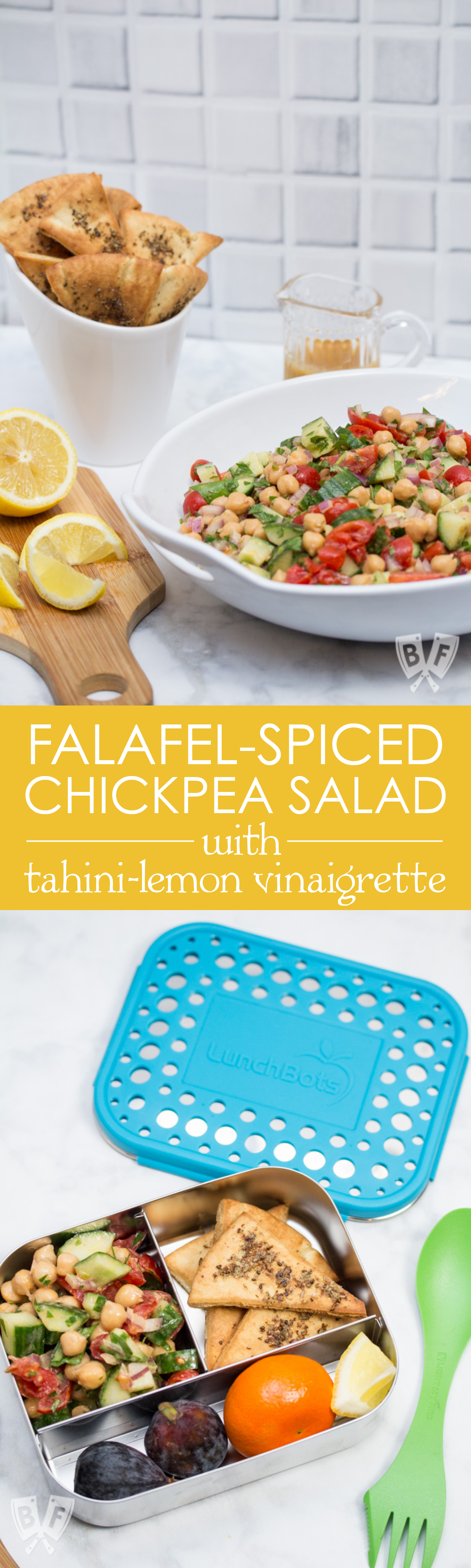 Falafel-Spiced Chickpea Salad with Tahini-Lemon Vinaigrette (#ad): This quick, simple Middle Eastern salad + homemade pita chips brings all the flavor of falafel in a fraction of the time - no deep frying required! #snackwithbarleans