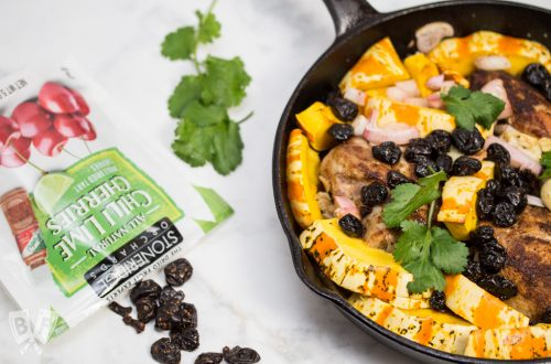 Latin-Spiced Pork + Squash Skillet with Chili Lime Cherries: (#ad) This smoky-sweet single skillet meal is a quick and easy way to get a comfort food dinner with Latin flair on the table any night of the week.