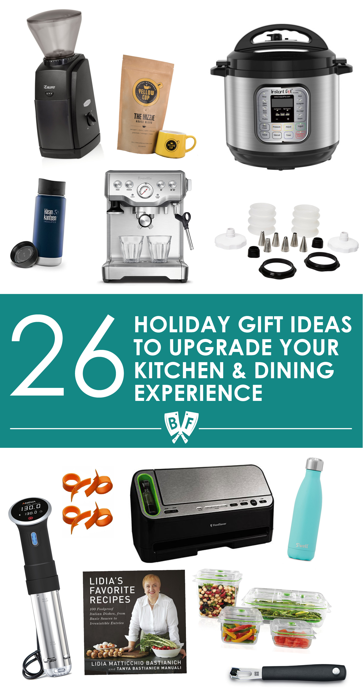 Holiday Gift Ideas to Upgrade Your Kitchen & Dining Experience: A list of holiday gift ideas + stocking stuffers for people who enjoy spending time cooking & entertaining. These 26 items will seriously rock your world!