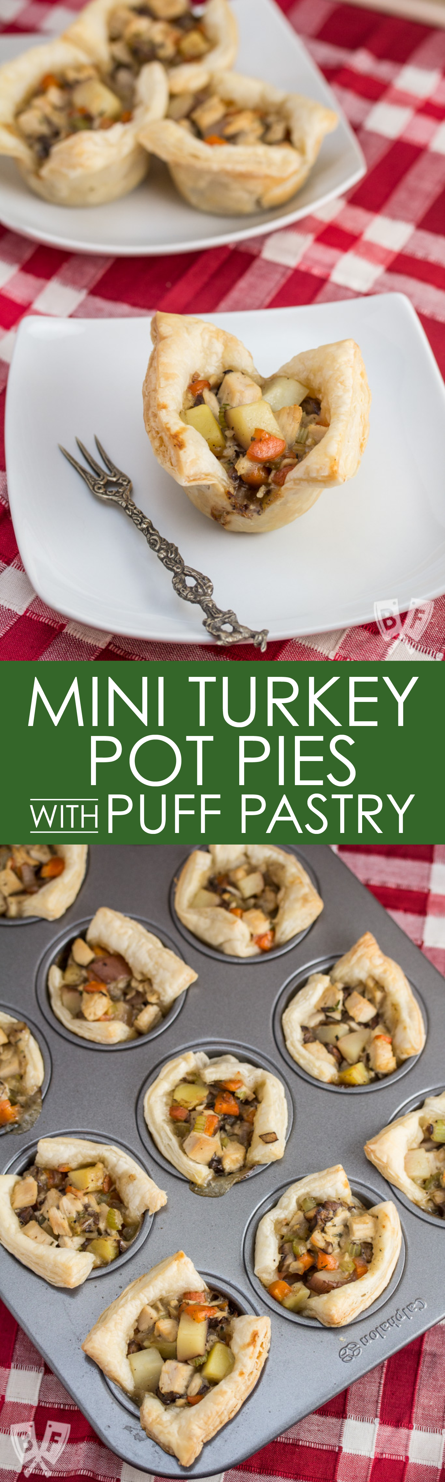 Puff pastry helps you make the most of your holiday leftovers with these easy bite-sized turkey pot pies. Perfect for Thanksgiving, Christmas or Easter!