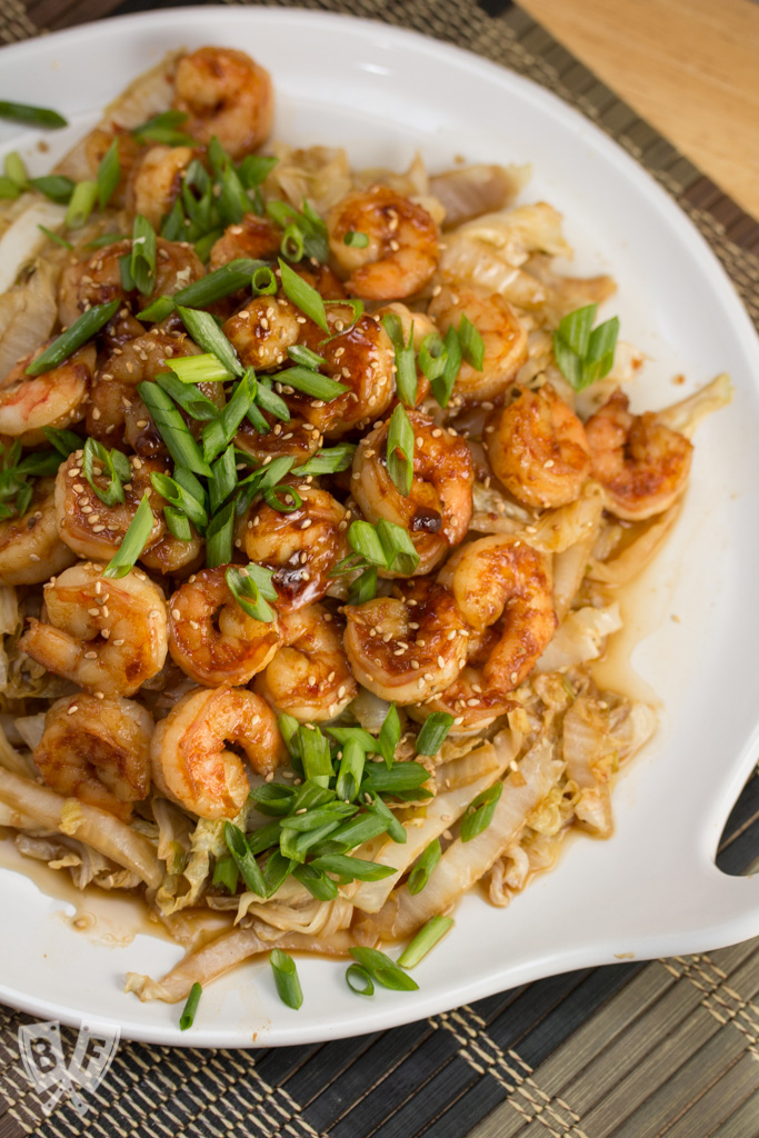 This Spicy Shrimp + Napa Cabbage Stir-Fry is a quick and delicious Chinese-inspired seafood meal. You won't even miss the rice!