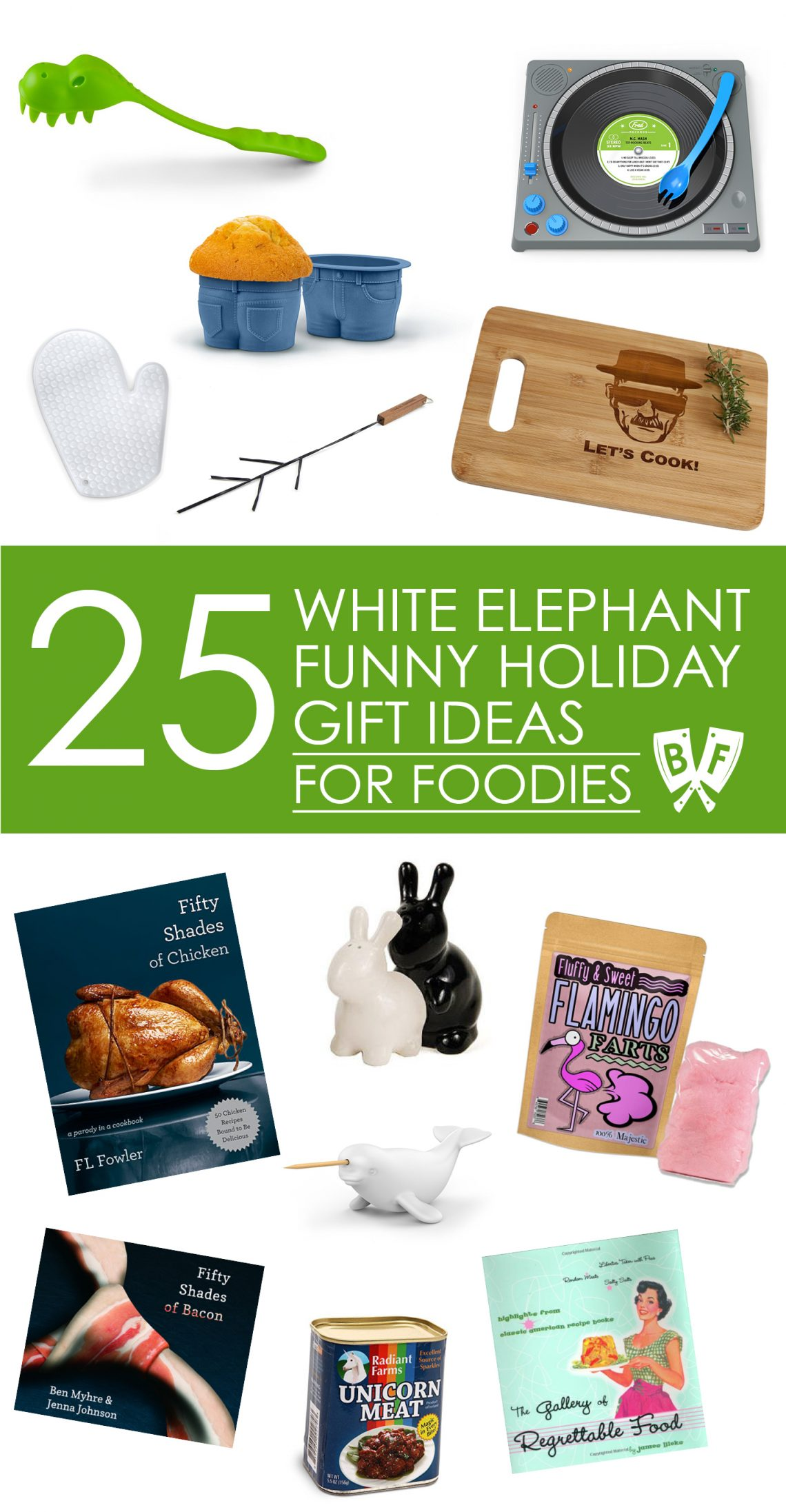 White Elephant Funny Holiday Gift Ideas for Foodies: Looking for funny stocking stuffers + holiday gift ideas for the food lovers in your life? This collection of 25 food + drink items is sure to be a hit!