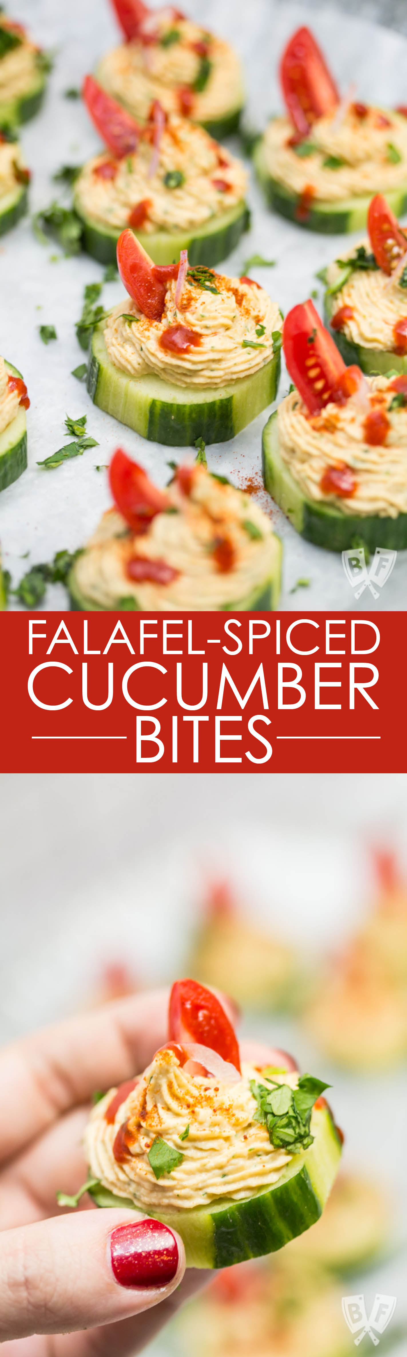 2 photos - one platter of cucumber slices topped with a spiced chickpea purée and 1 close up of a hand holding one of the cucumber slices.