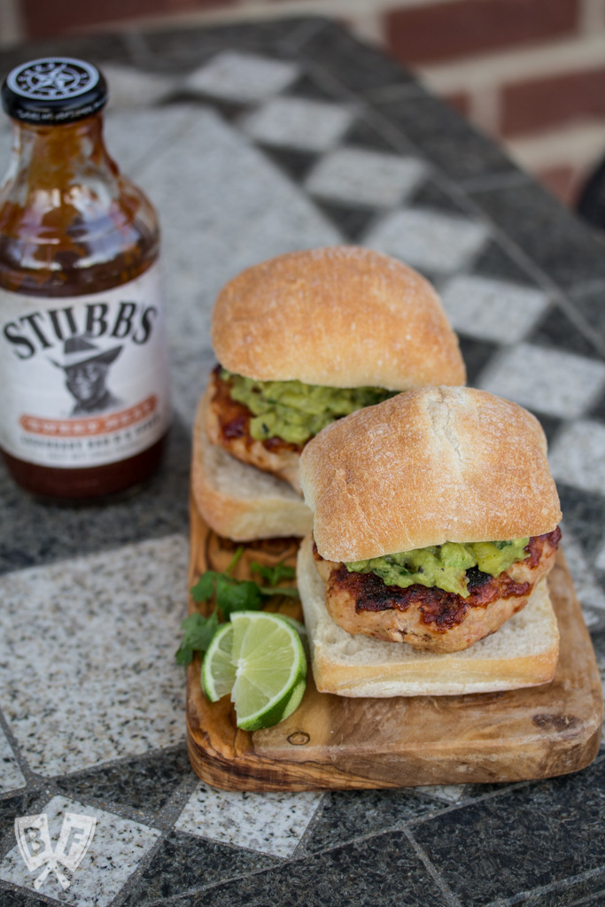 BBQ turkey burgers topped with grilled pineapple guacamole.