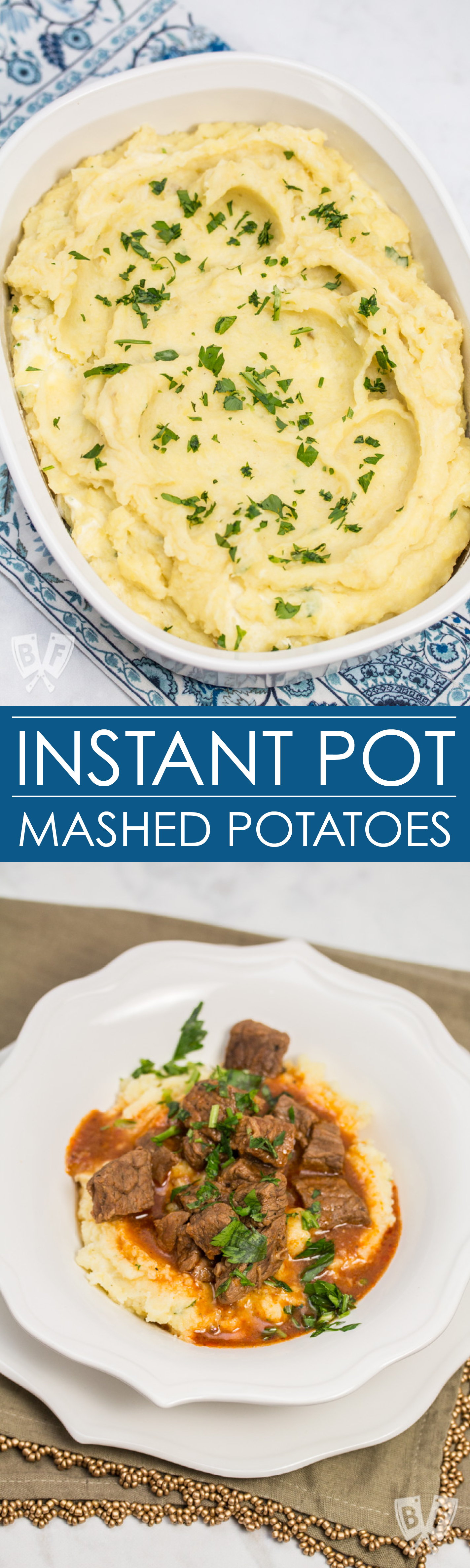Two photos of mashed potatoes sprinkled with parsley - one in a casserole dish and one in a bowl with beef goulash poured over top.