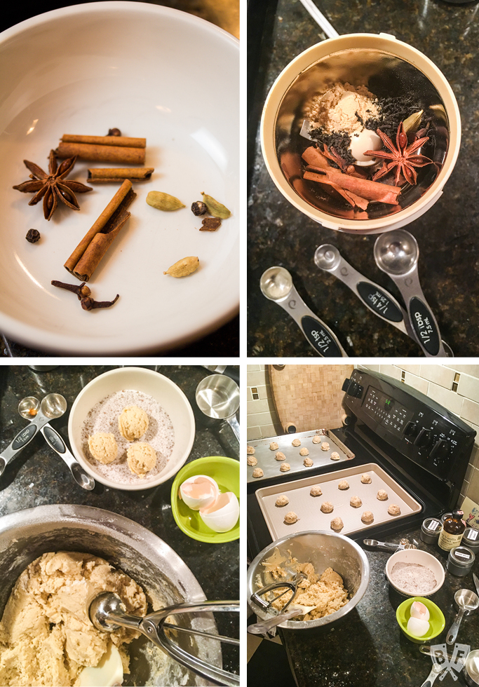 4 photos showing spices in a bowl, a spice grinder, a bowl of cookie dough, and cookie dough balls on baking sheets.