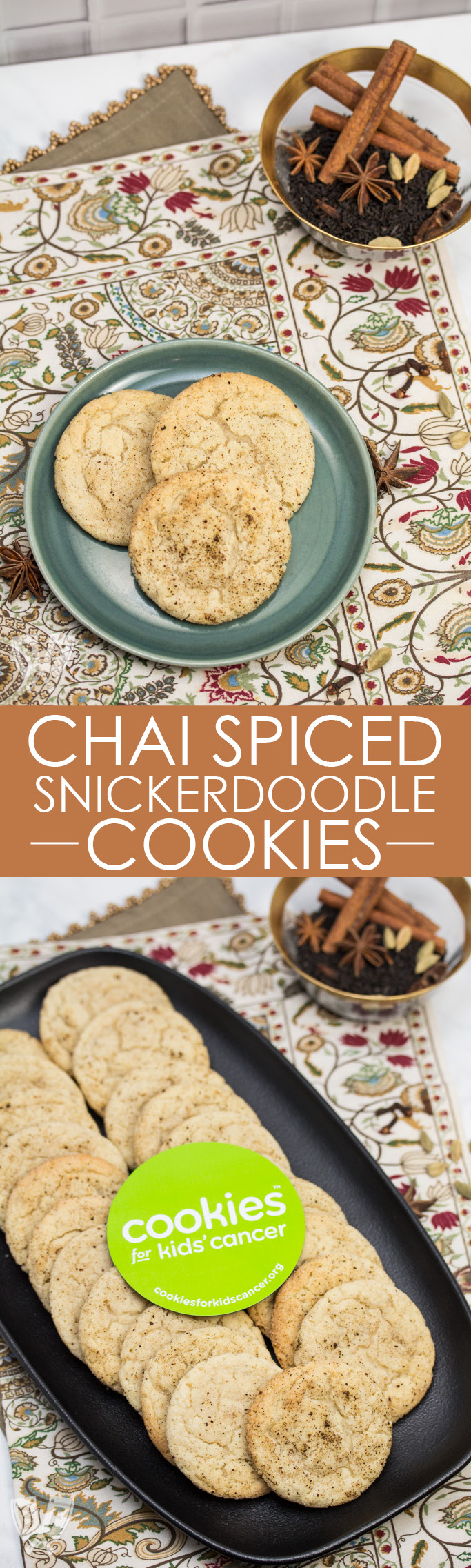 2 overhead photos of platters of Chai Spiced Snickerdoodle Cookies with a bowl of tea leaves and spices in the background.