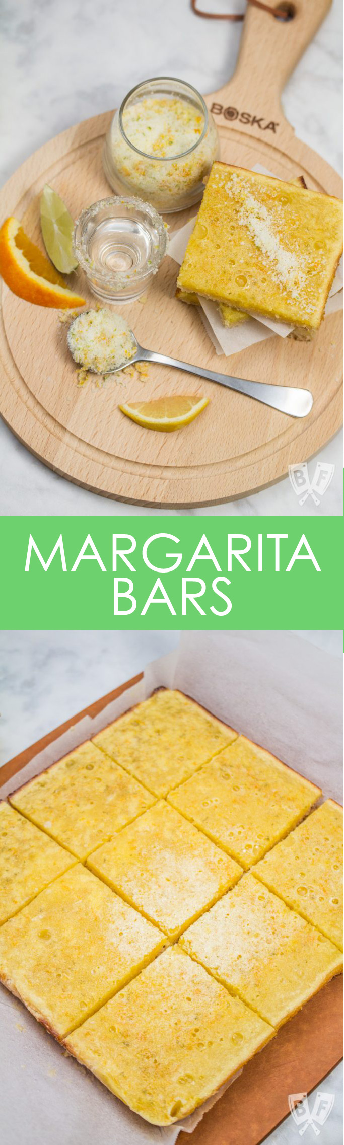 2 photos - one overhead view of a dessert bar with a shot of tequila and fresh citrus and one of the bars on a cutting board.