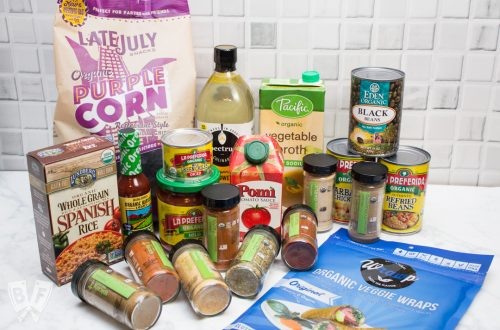 An assortment of Mexican cooking ingredients displayed on a kitchen counter.