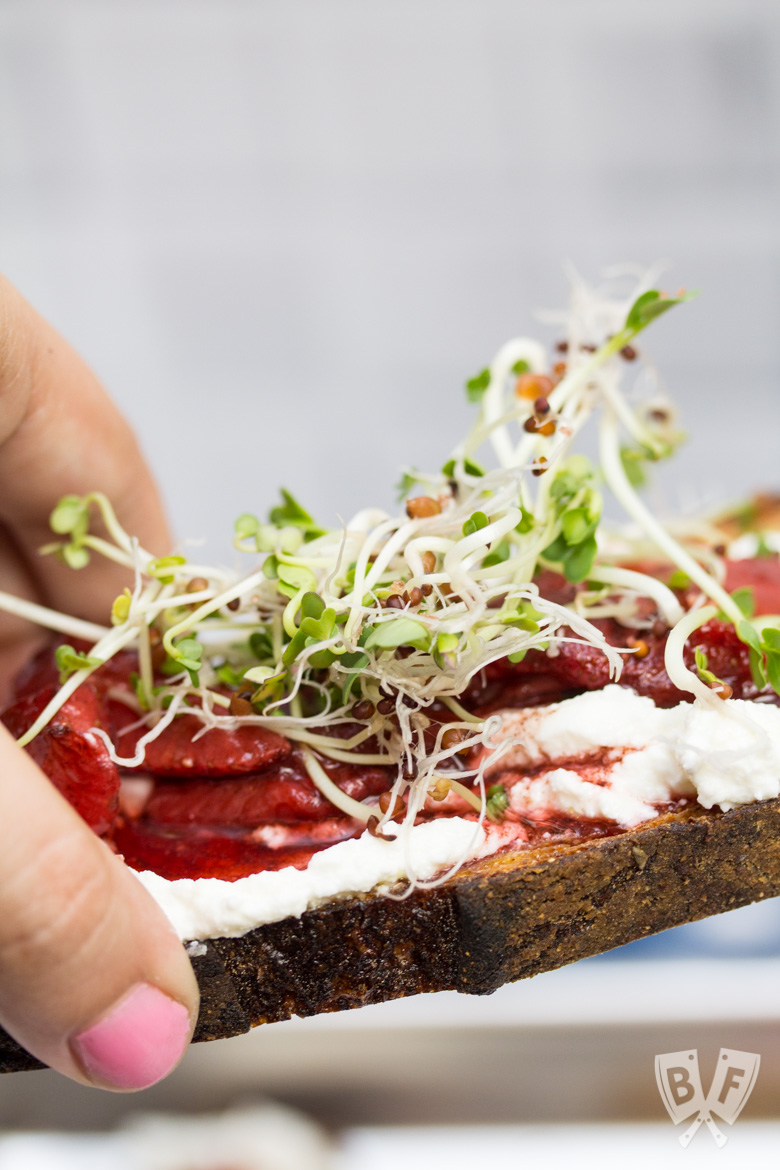Side view of 3 pieces of toast topped with 3 types of sprouts, balsamic-roasted strawberries and ricotta.