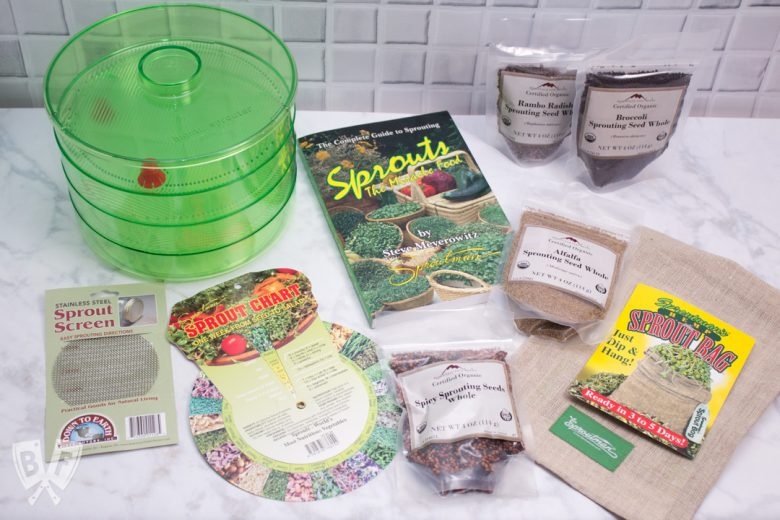 Overhead view of sprouting supplies and seeds for growing sprouts at home.