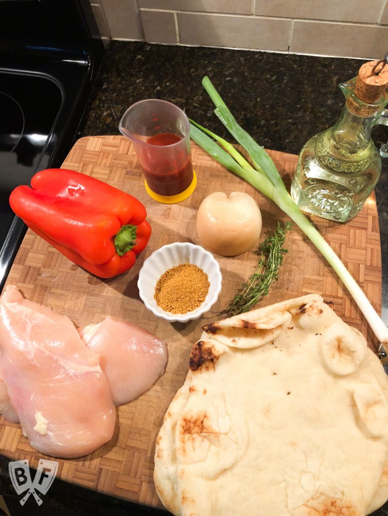 Overhead view of the ingredients for BBQ Chicken Pizza with Smoked Mozzarella.