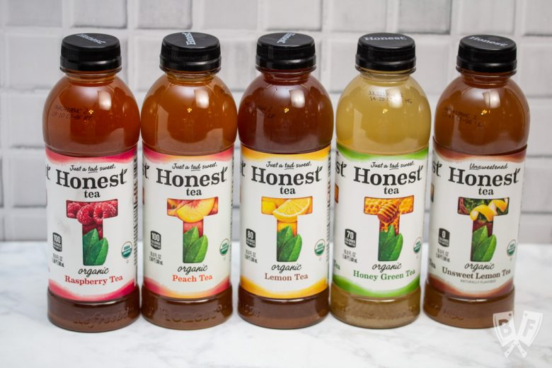 Straight on view of 5 varieties of Honest Tea.