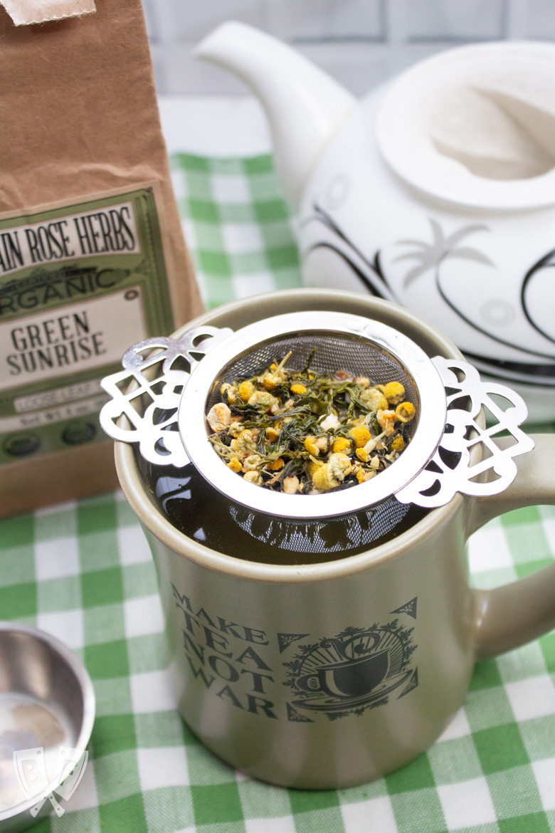 Assortment of reusable tea products for reducing kitchen waste.