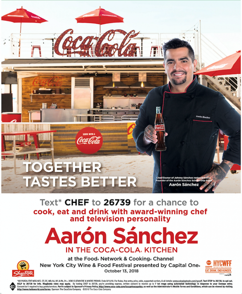 Flyer for Coca-Cola ShopRite NYCWFF Text-to-Win promotion