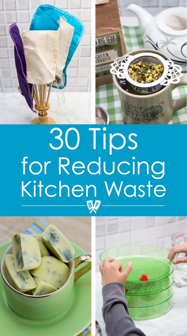 Assortment of reusable products for reducing kitchen waste.