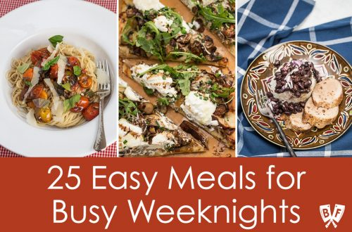 Collage of examples of easy weeknight meals.