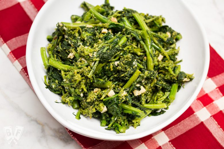 Overhead view of a bowl of garlicky broccoli rabe.