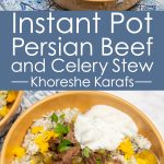 Overhead view of 2 bowls of Instant Pot Persian Beef and Celery Stew (Khoreshe Karafs) over dill rice next to an Instant Pot.
