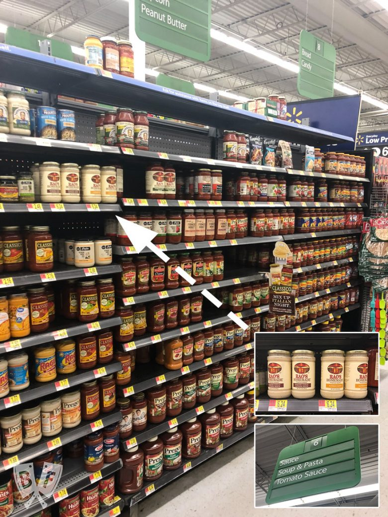 Aisle at Walmart showing where to find jars of Rao's pasta sauce.