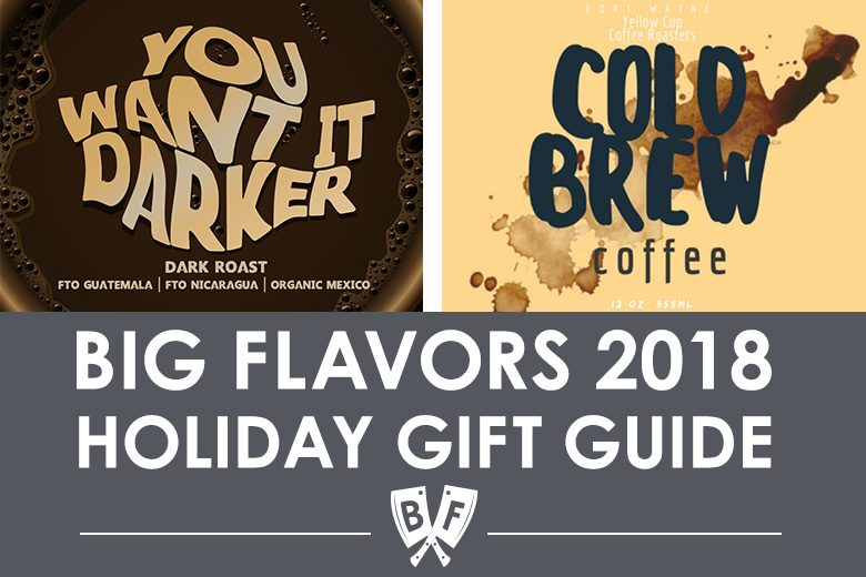 Collage of coffee gifts for a holiday gift guide.