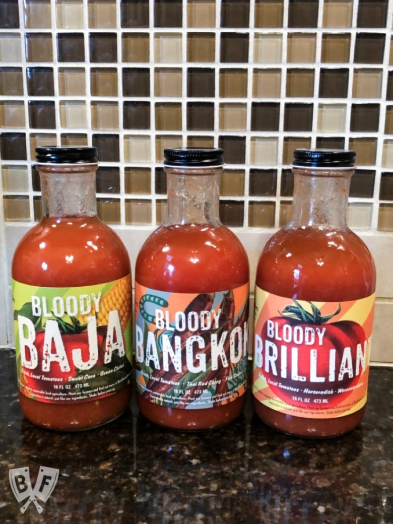 3 bottles of bloody mary mixes from Backpocket Provisions.