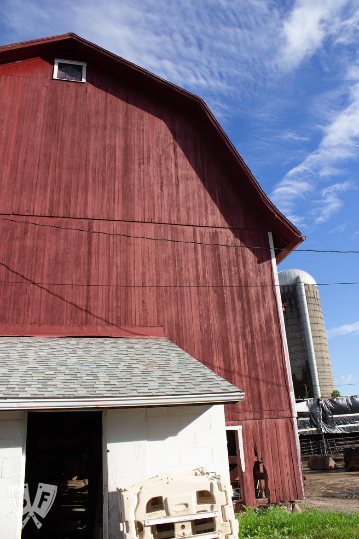 Big red barn against a blue sky on a dairy farm.