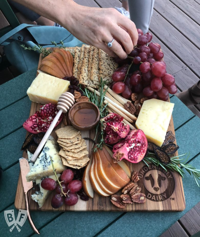 Overhead view of a beautiful fall cheese board.