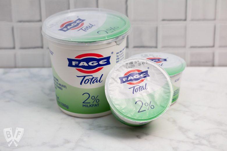 3 containers of Greek yogurt.