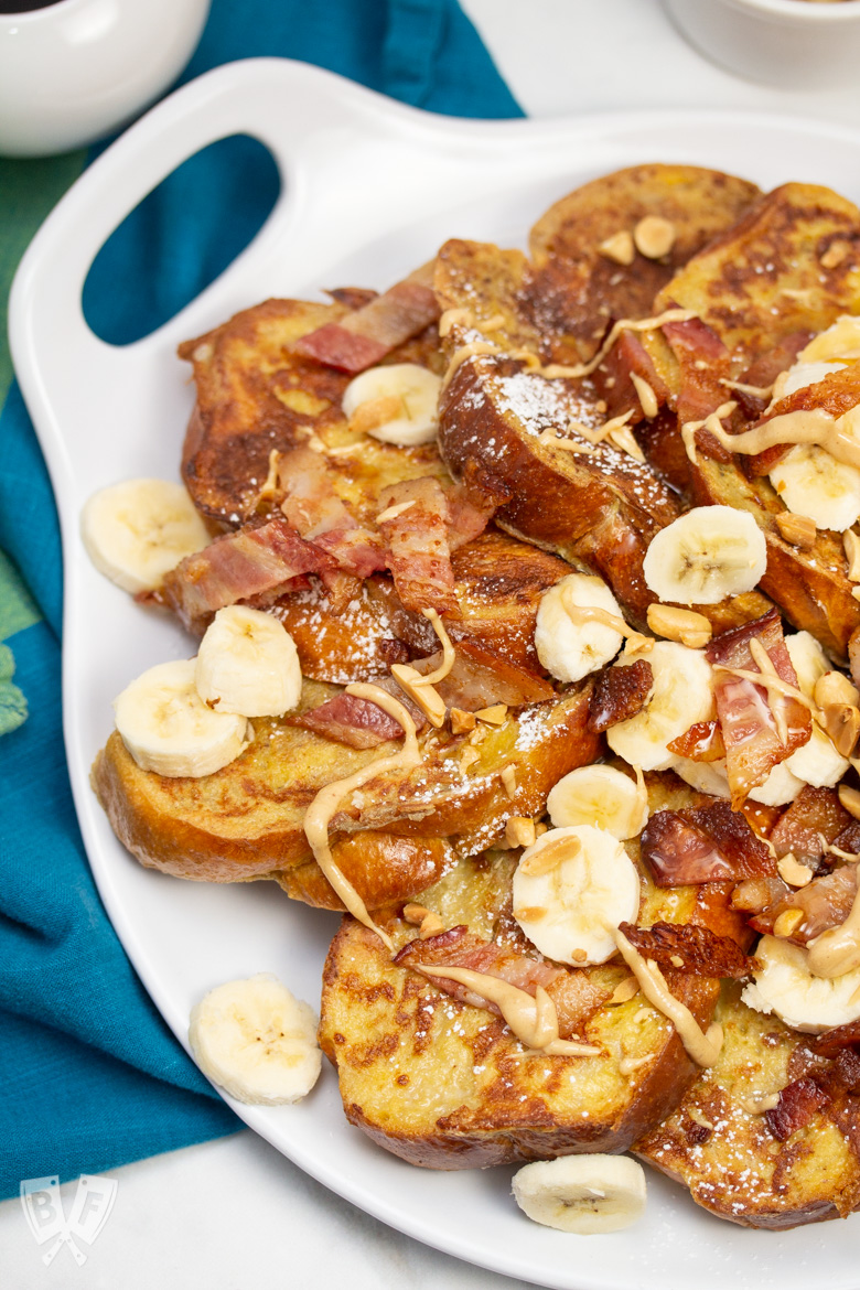 Overhead view of Elvis-Style Challah French Toast.