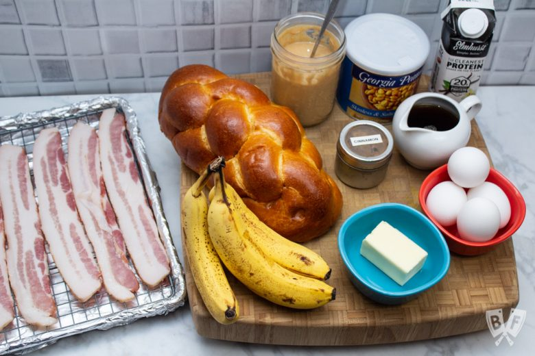Overhead view of ingredients for Elvis-Style Challah French Toast