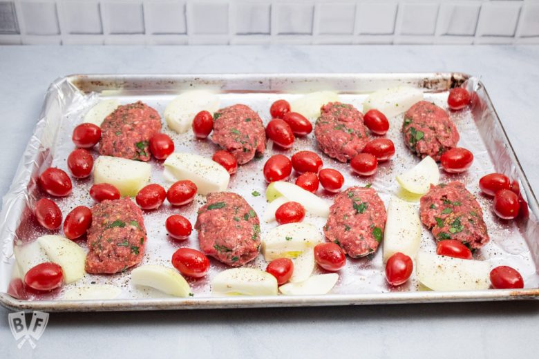 Overhead view of Broiler Kebab Sheet Pan Meal ready for the oven