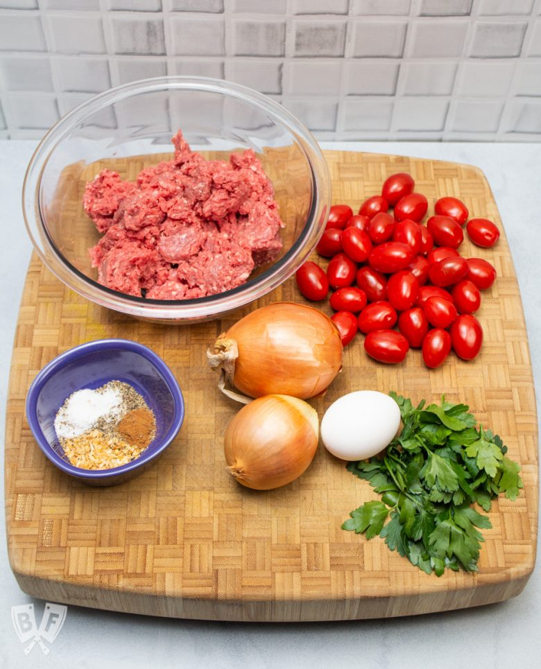 Overhead view of ingredients for Broiler Kebab Sheet Pan Meal