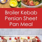 Overhead view of ingredients and steps for Broiler Kebab Sheet Pan Meal
